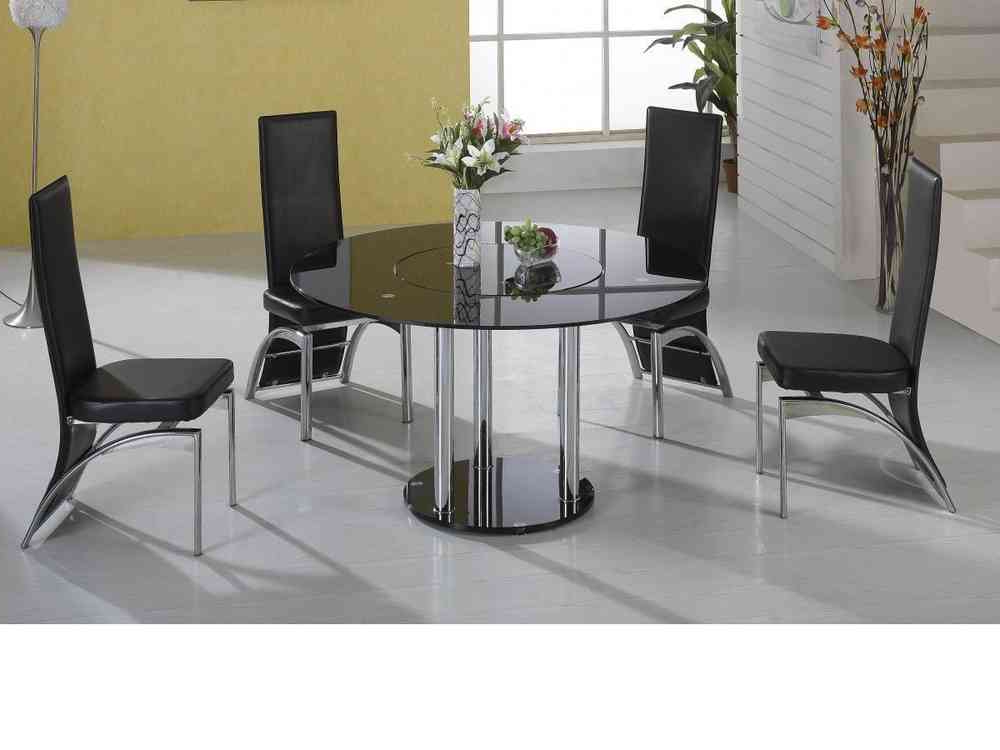 Lazy Susan Round Black Glass Dining Table And 4 Black Faux Chairs Regarding Favorite Dark Round Dining Tables (View 19 of 20)