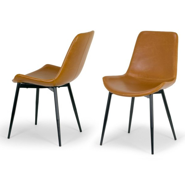 Leather Dining Chairs Intended For Favorite Shop Alary Caramel Brown Faux Leather Modern Dining Chair (Set Of  (View 9 of 20)