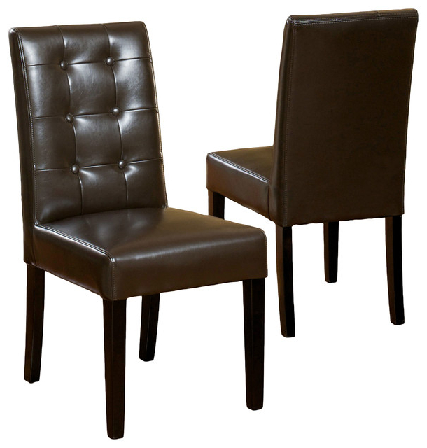 Leather Dining Chairs Pertaining To Newest Gillian Leather Dining Chair, Set Of 2 – Transitional – Dining (View 10 of 20)
