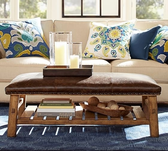 Leather Ottoman Coffee Table Pottery Barn In Most Popular Caden Round Dining Tables (View 9 of 20)