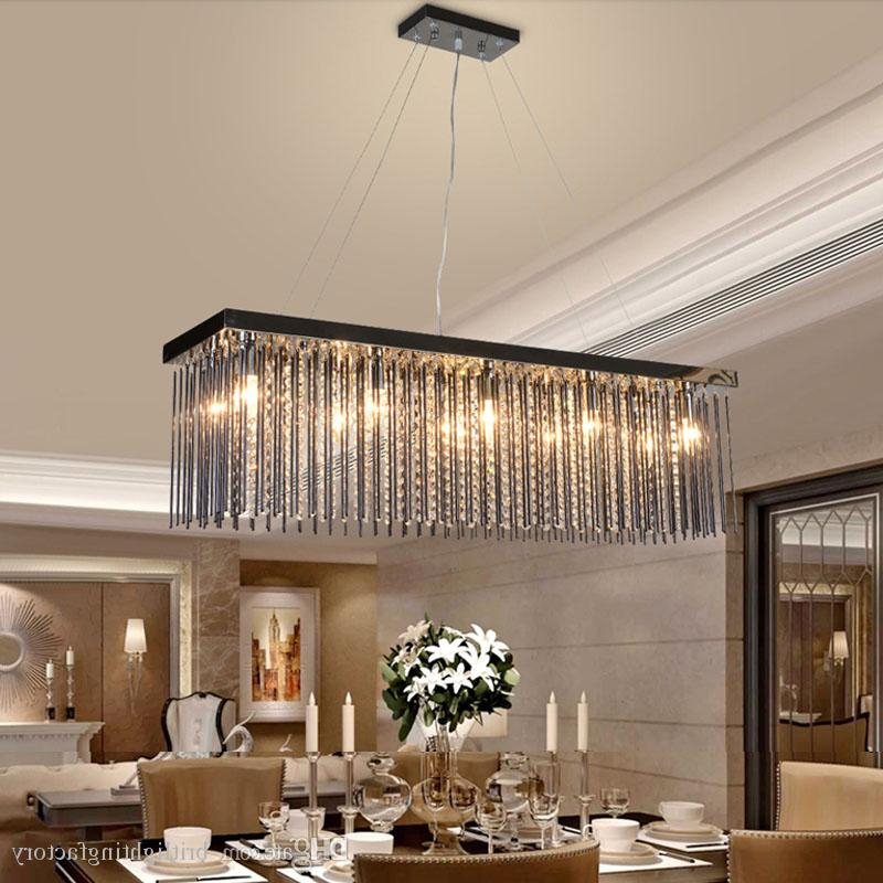 Led Dining Tables Lights Pertaining To Well Liked Crystal Lamp Rectangular Dining Room Pendant Lights Hotel Dining (View 9 of 20)