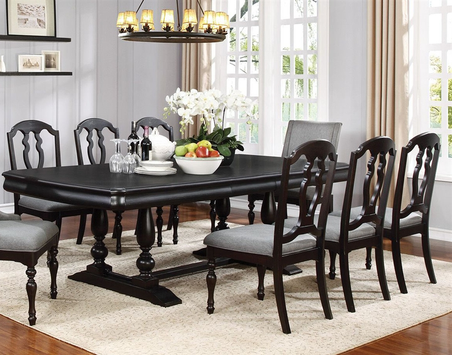 Leon 7 Piece Dining Set In Black Licorice Finishcoaster – 107331 Pertaining To Popular Leon 7 Piece Dining Sets (View 5 of 20)