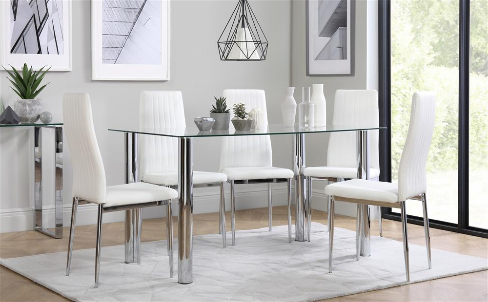 Leon Dining Tables For 2017 Lunar Chrome And Glass Dining Table With 6 Leon White Chairs Only (View 10 of 20)