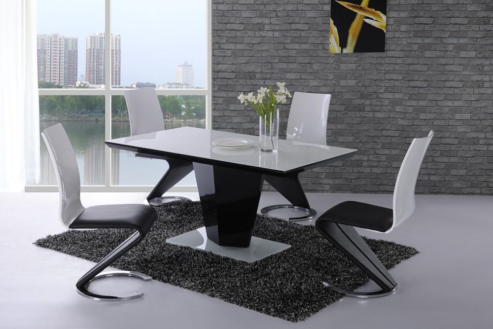 Leona Black High Gloss White Glass Designer Dining Table – £0.00 In Newest High Gloss Dining Tables Sets (Gallery 11 of 20)