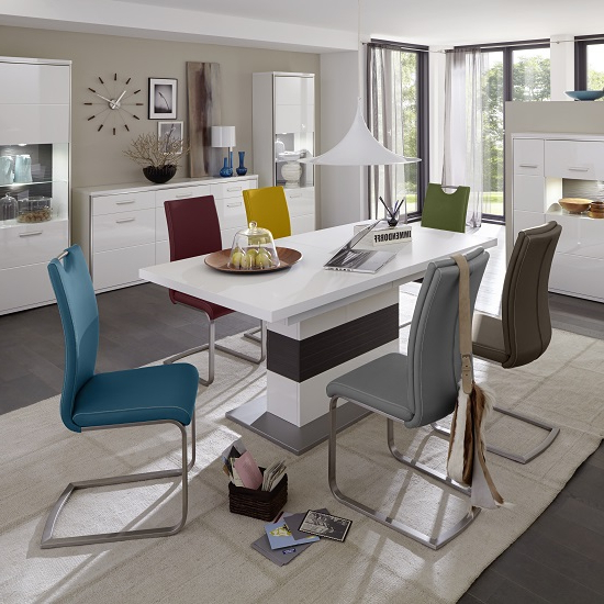 Libya Extendable Dining Table In White With 8 Paulo Chairs For Most Up To Date Extending Dining Table And Chairs (Gallery 9 of 20)