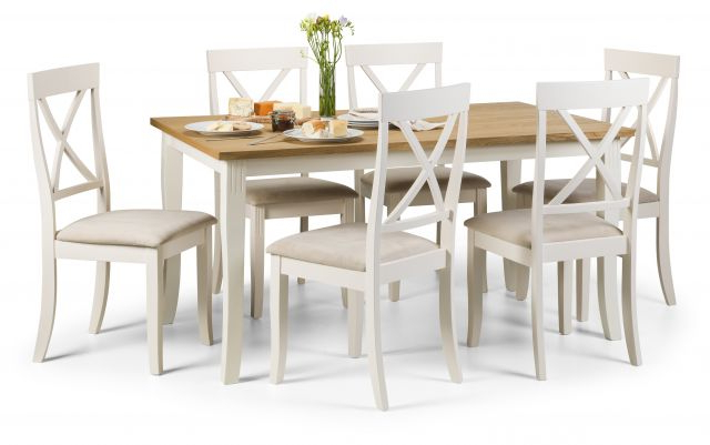 Light Oak Dining Tables And 6 Chairs Throughout Best And Newest Julian Bowen Devon Ivory & Light Oak Rectangular Dining Table &  (View 10 of 20)