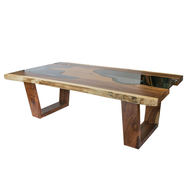 Live Edge Solid Wood Slab Dining Table With Glass Inserts With Regard To Well Liked Wooden Glass Dining Tables (View 8 of 20)