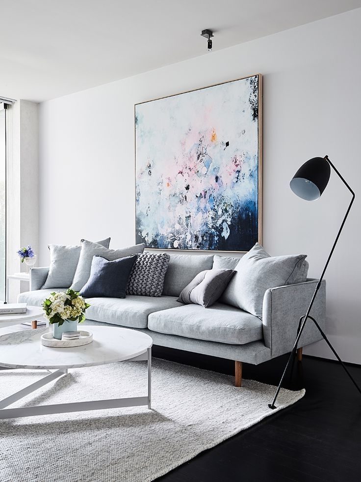 Living Room: Pale Grey Sofa, Scatter Cushions, Pastel Painting Inside Most Recent Pilo Grey Side Chairs (View 10 of 20)
