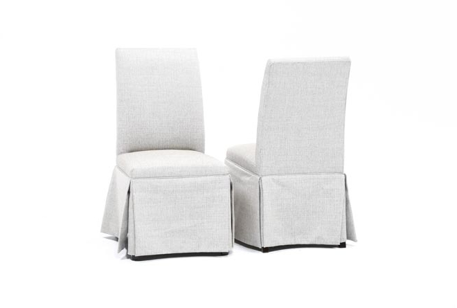 Featured Photo of Garten Linen Skirted Side Chairs Set Of
