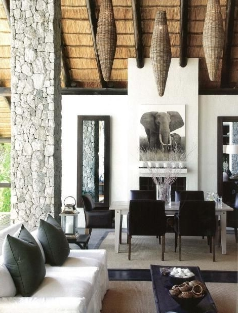 Londolozi Lodge, South Africa <3<3Nice Colour Scheme ….white, Black Throughout Favorite Bale Rustic Grey 6 Piece Dining Sets With Pearson Grey Side Chairs (Gallery 4 of 20)