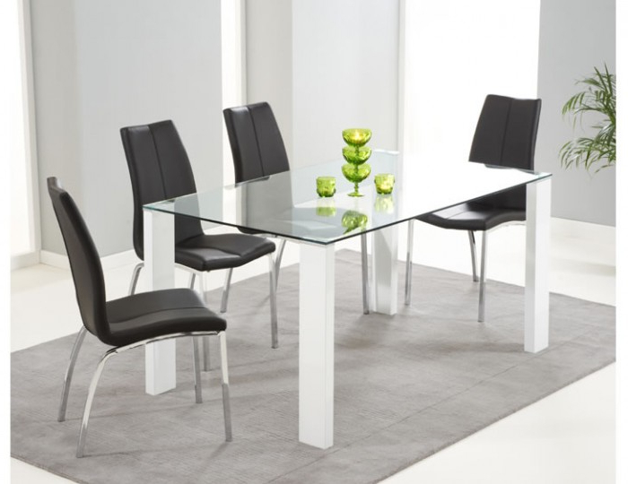 Lopez White Gloss & Clear Glass Dining Table & Chairs – Frances Hunt Within 2018 White Gloss And Glass Dining Tables (View 20 of 20)