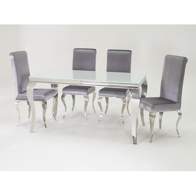 Louis 160Cm White And Chrome Dining Table With 6 Sliver Chairs Throughout Trendy Chrome Dining Tables (Gallery 7 of 20)