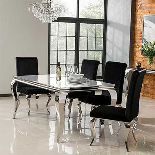Louis 160Cm White Dining Table Set With 4 Silver Velvet Louis Chairs Pertaining To 2017 White Dining Sets (View 11 of 20)