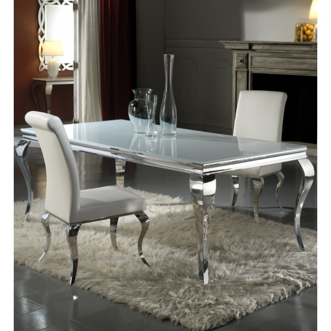 Louis Nicole Silver Velvet And Chrome Dining Chairs ( Pair ) Intended For Well Known Chrome Dining Sets (Gallery 8 of 20)