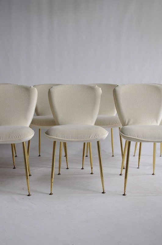 Louis Sognot Vintage Dining Chairs Brass Legs & Off White Fabric Inside Most Recent Chandler Fabric Side Chairs (View 15 of 20)