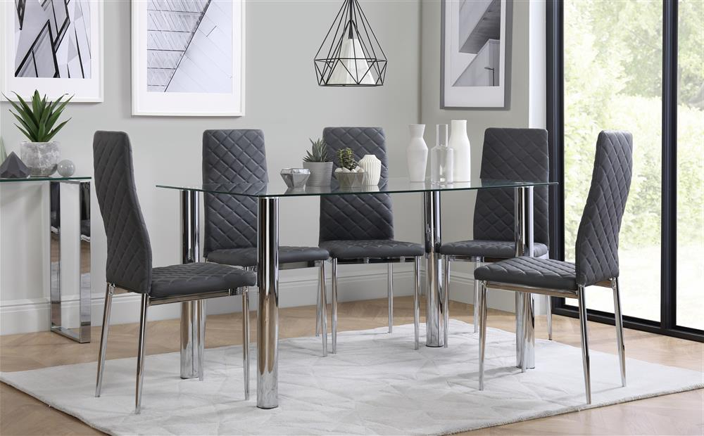 Lunar Chrome And Glass Dining Table With 6 Renzo Grey Chairs Only With Regard To Recent Dining Tables With Grey Chairs (Gallery 14 of 20)