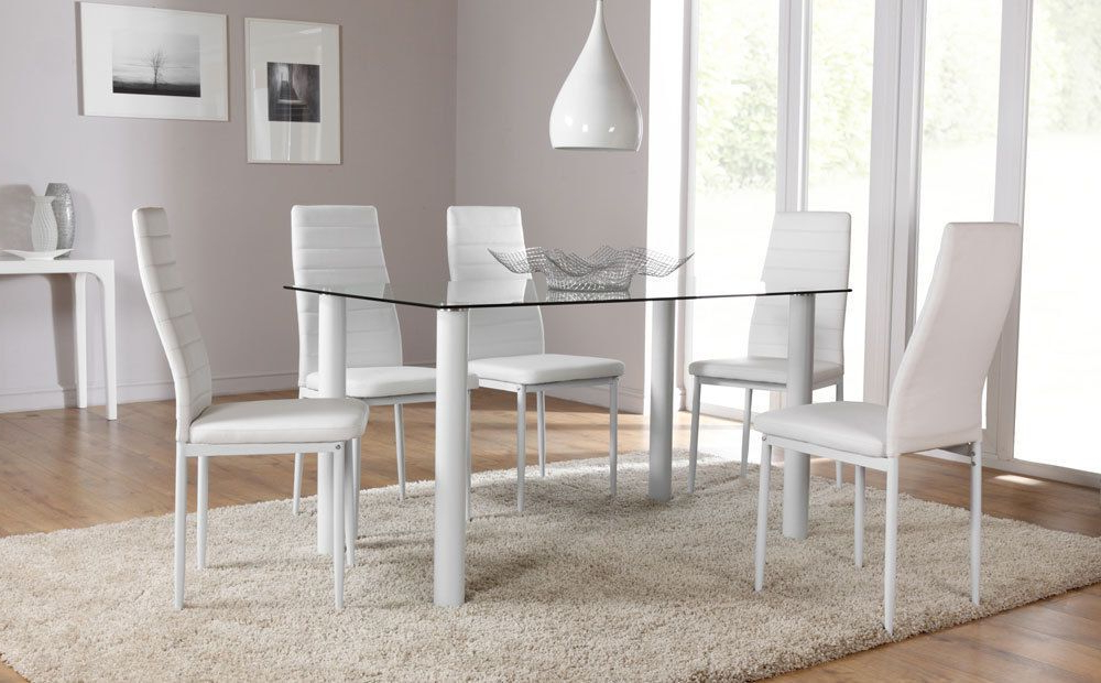 Lunar Glass Dining Room Table And 4 6 Chairs Set (White) (Gallery 10 of 20)