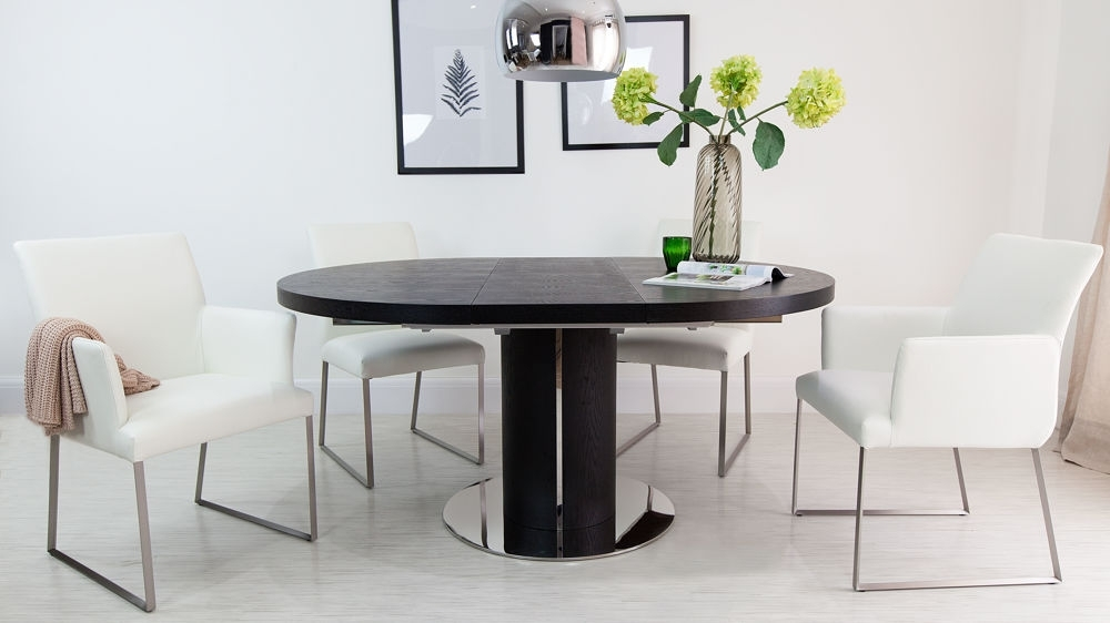 Luxurious Contemporary Black Ash/real Leather Extending Set Regarding Famous Black Extending Dining Tables (View 7 of 20)