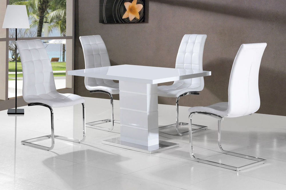 Luxury New Stunning Maxi White High Gloss Dining Table Dining Chairs Within Latest Gloss Dining Sets (Gallery 20 of 20)