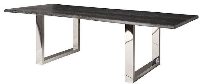 Lyon Dining Tables Regarding Preferred Zinnia Industrial Grey Oak Stainless Steel Dining Table – 78W (View 9 of 20)
