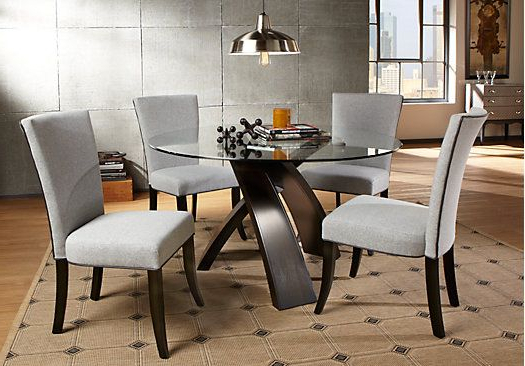 Macie 5 Piece Round Dining Sets Regarding Most Current Del Mar Ebony 5 Pc Round Dining Set In  (View 12 of 20)