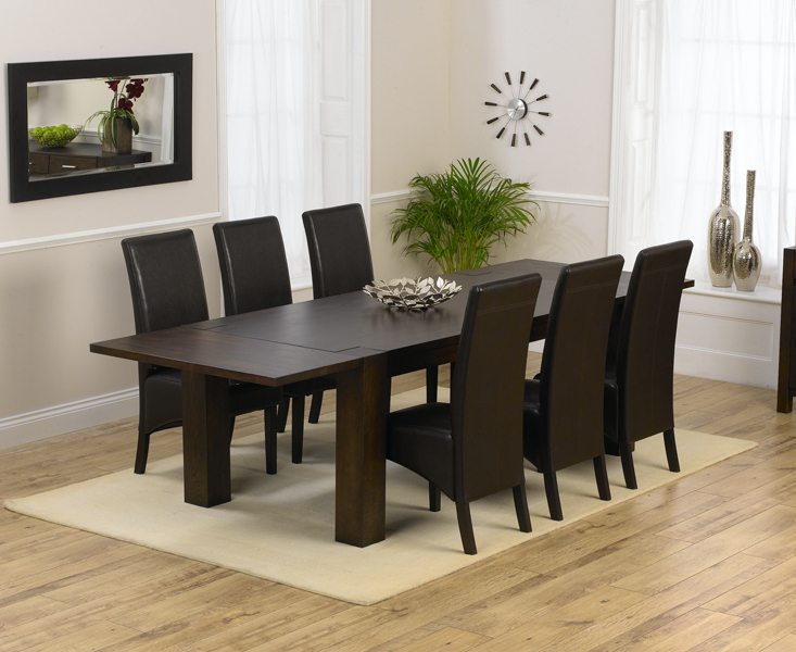 Madrid 200cm Dark Solid Oak Extending Dining Table With Dakota Chairs Within Most Up To Date Oak Dining Tables And 8 Chairs (View 13 of 20)