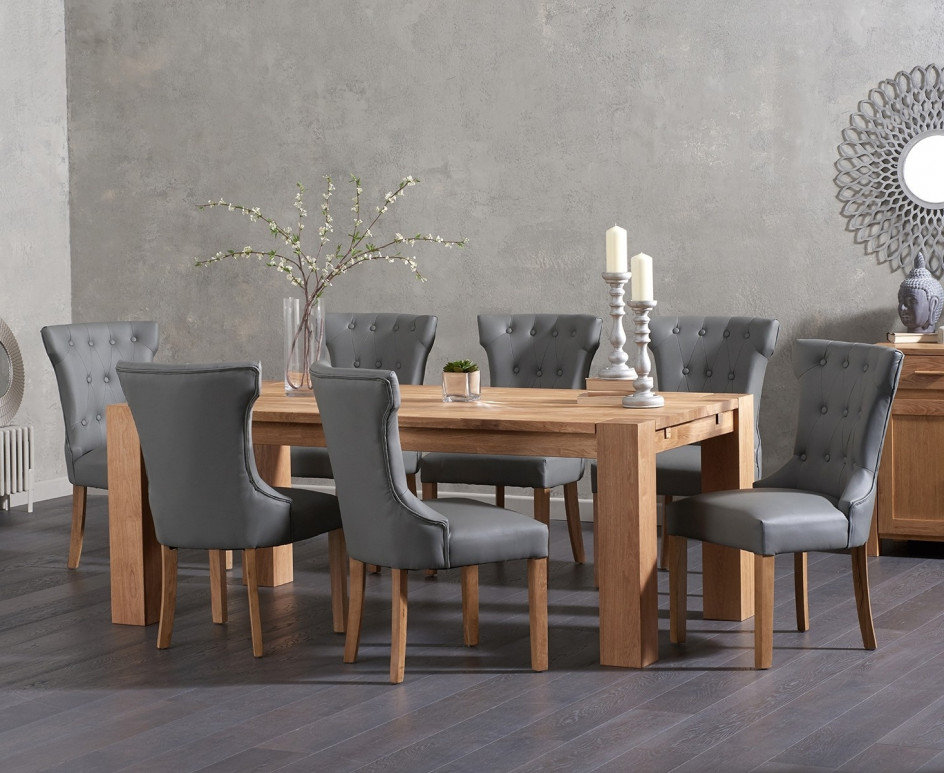Madrid 200Cm Solid Oak Dining Table With Cora Grey Faux Leather With Fashionable Oak Dining Tables And Leather Chairs (View 10 of 20)
