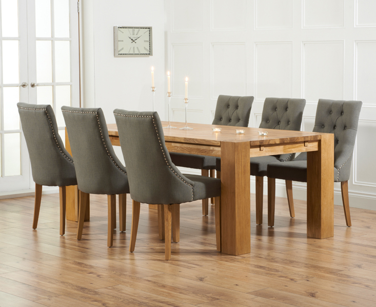 Madrid 240Cm Solid Oak Dining Table With Pacific Fabric Chairs Intended For Recent Oak Dining Tables And Chairs (Gallery 15 of 20)