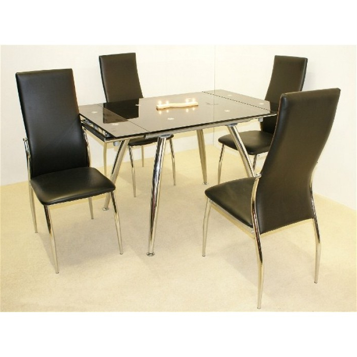 Magna Extending Dining Table + 4 Chairs Throughout Fashionable Extending Dining Tables And 4 Chairs (View 18 of 20)