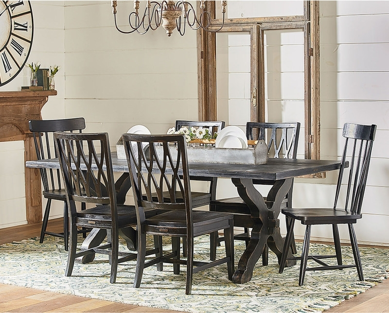 Magnolia Home Demi Flannel Wing Side Chairs For Most Up To Date Trestle Dining Table With 4 Revival Side And (View 13 of 20)