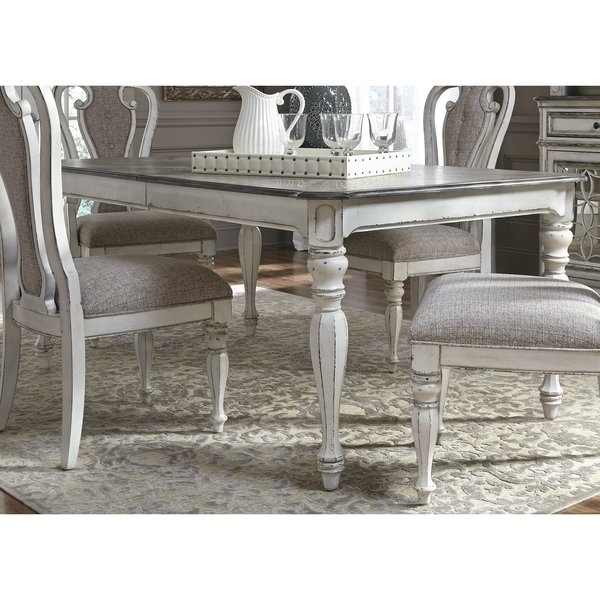 Magnolia Home Reed Arm Chairs Inside Most Up To Date Shop Magnolia Manor Antique White 44x108 Dinette Table – Antique (View 15 of 20)