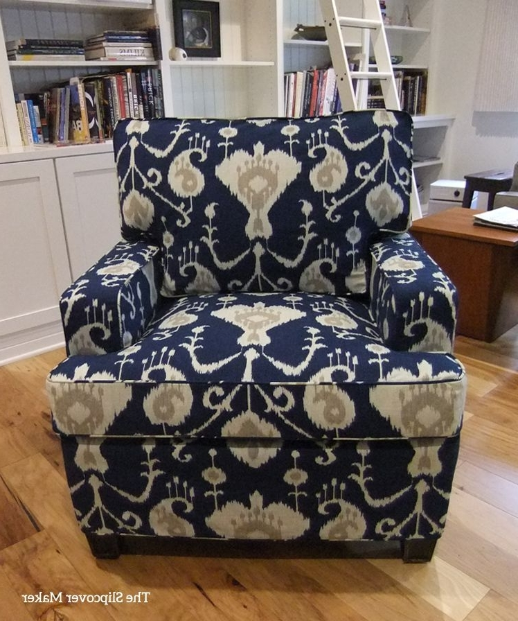 Magnolia Home Reed Arm Chairs Regarding Best And Newest Slipcover Makeover With Indigo Ikat (View 12 of 20)