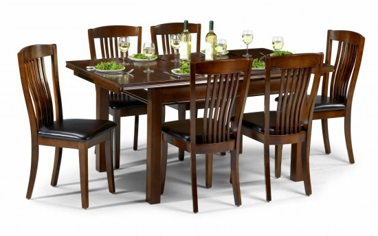 Mahogany Dining Tables And 4 Chairs Regarding Well Known Julian Bowen Canterbury Mahogany Dining Set Table + 4 Slatted Chairs (View 7 of 20)