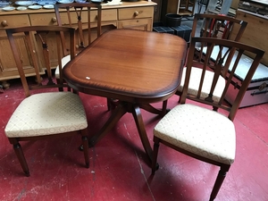 Mahogany Dining Tables And 4 Chairs Within Well Known Mahogany Dining Table With 4 Chairs Styled With Gold Materia (View 15 of 20)