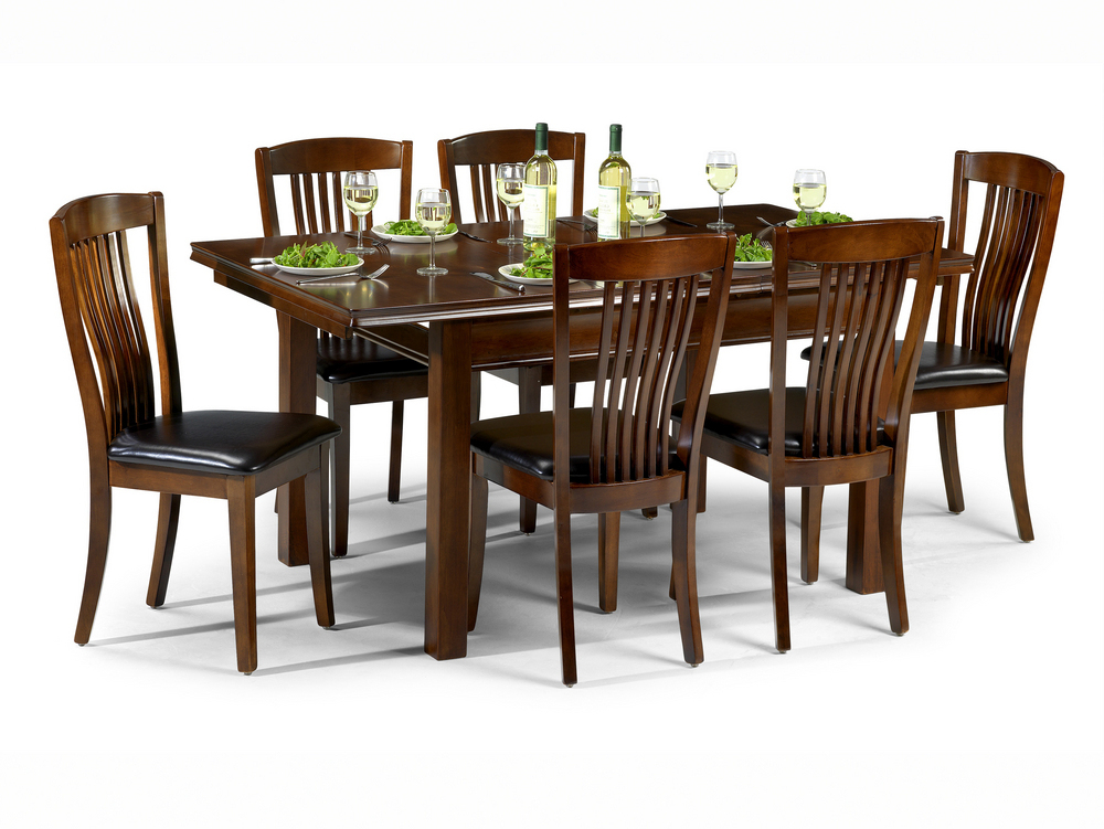 Mahogany Dining Tables Sets Inside Preferred Julian Bowen Canterbury 120Cm Mahogany Dining Table And 6 Parson (View 8 of 20)