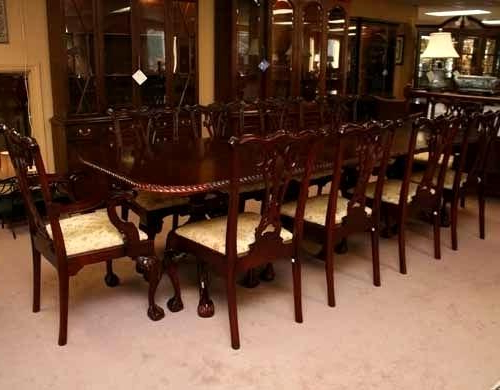 Mahogany Dining Tables Sets Pertaining To Best And Newest Incredible Chippendale Chairs Set Dining Furniture Stunning Mahogany (View 14 of 20)