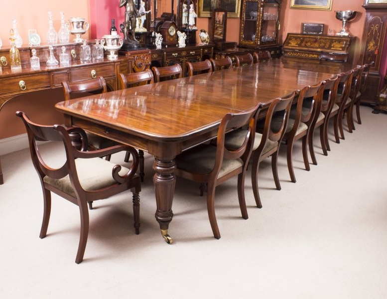 Mahogany Extending Dining Tables And Chairs Inside Best And Newest Antique Victorian 14 Ft Flame Mahogany Extending Dining Table &  (View 9 of 20)