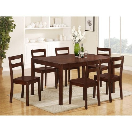 Mainstays Parsons 7 Piece Dining Set, Espresso $ (View 10 of 20)