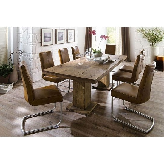 Mancinni 8 Seater Dining Table In 220cm With Flair Dining Chairs Pertaining To Trendy 8 Seater Dining Tables And Chairs (View 16 of 20)