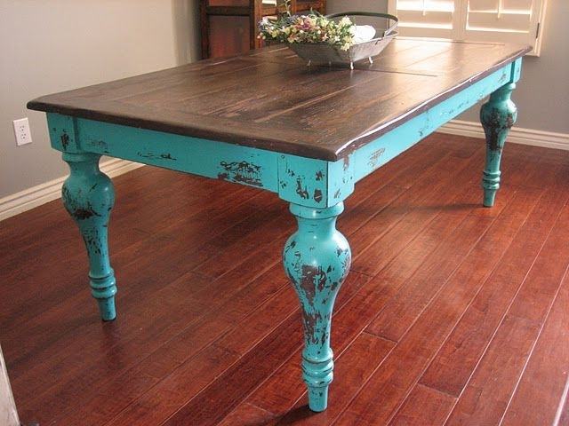 Mandy Paper White Side Chairs Inside Preferred Rustic Turquoise Dining Table (View 17 of 20)