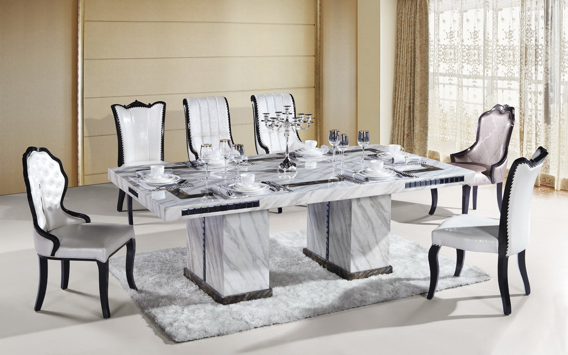 Marble Dining Furniture: Gives Exotic Look To Your Home For Well Liked White Dining Suites (View 9 of 20)