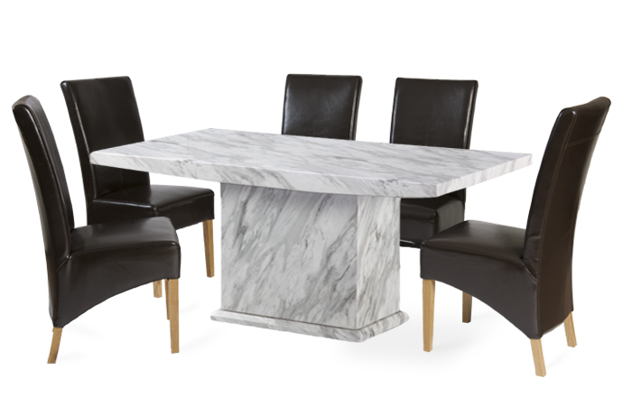 Marble Effect Dining Tables And Chairs In Well Known Calacatta 180cm Marble Effect Dining Table With 4 Cannes Brown (View 4 of 20)