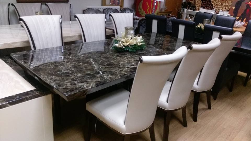Marble Effect Dining Tables And Chairs Intended For Well Known Mocha 220Cm Marble Dining Table And 6 Apine Cream Leather And Gloss (View 13 of 20)