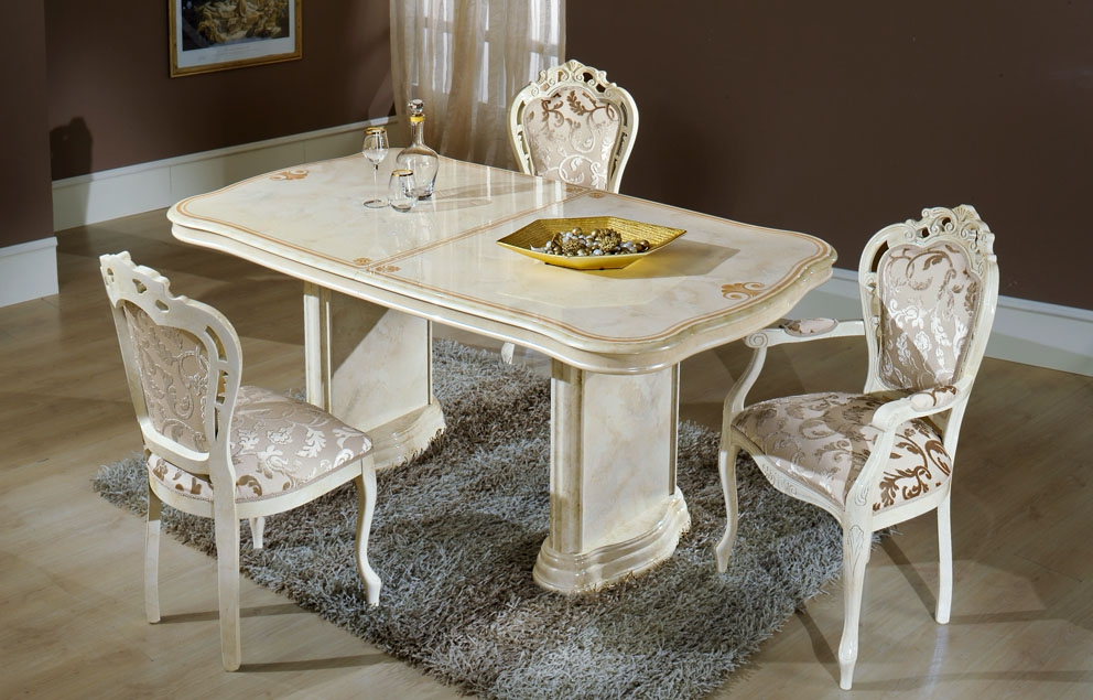 Marble Effect Dining Tables And Chairs Within Most Up To Date Elizabeth Extending Dining Table In Beige Marble With Dining Chairs (View 18 of 20)