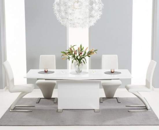 Marila 150cm White High Gloss Dining Table With 6 Hereford White For Preferred White High Gloss Dining Chairs (View 20 of 20)