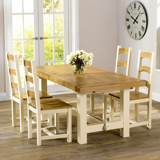 Marino Dining Table Solid Oak And Cream Dining Table – Marino Dining Regarding Latest Cream And Oak Dining Tables (View 10 of 20)