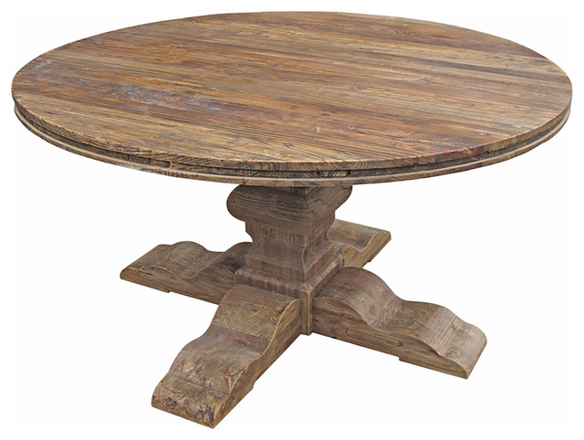 Maris French Country Reclaimed Elm Round Dining Table – Traditional With Regard To Recent Round Dining Tables (View 11 of 20)