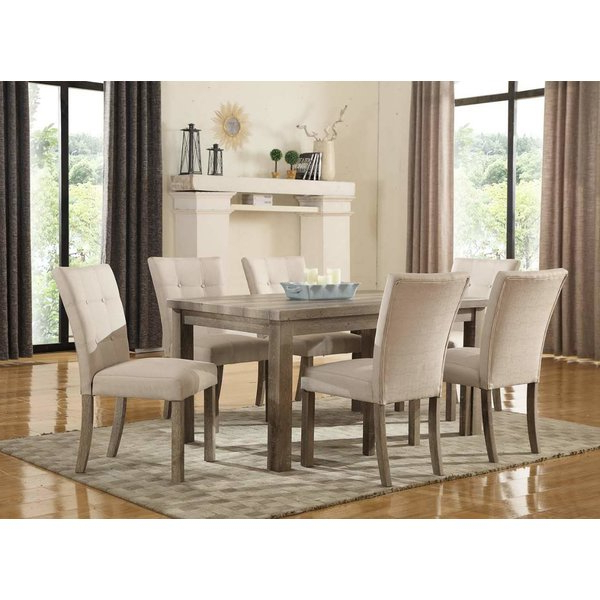 Market 7 Piece Dining Sets With Side Chairs Throughout Best And Newest Weathered Gray Dining Table (View 11 of 20)