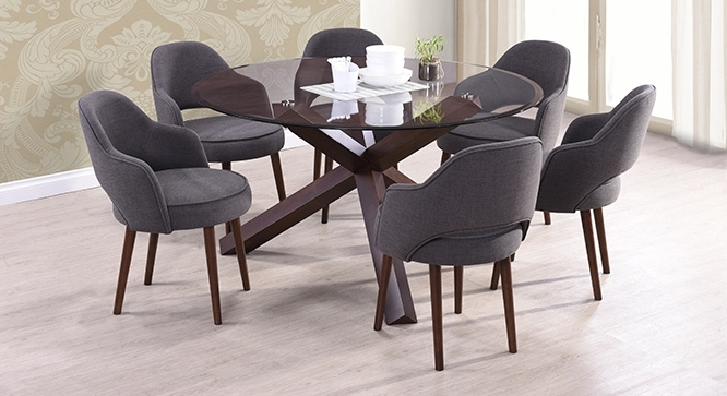 Matheson Nubica 6 Seater Round Glass Top Dining Table Inside Fashionable 6 Seater Round Dining Tables (View 13 of 20)
