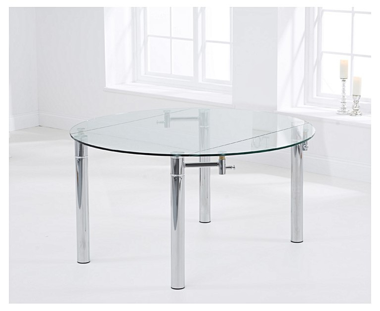 Melbourne 145cm Round Glass Extending Dining Table Pertaining To Most Recently Released Glass Round Extending Dining Tables (View 4 of 20)